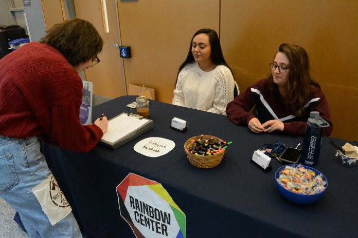 The Rainbow Center tables in the Student Union to raise awareness for National Coming Out Day and inclusivity on Friday, Oct. 18.  Photos by Spencer Bennett / The Daily Campus.