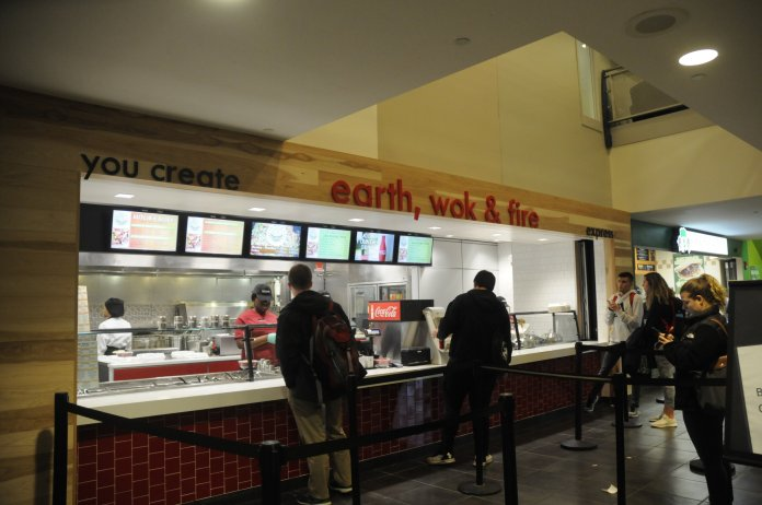 Last week, Earth, Wok, and Fire opened in the student union. Students had mixed reactions to the food options offered.  Photo   by Amanda Kilyk / The Daily Campus
