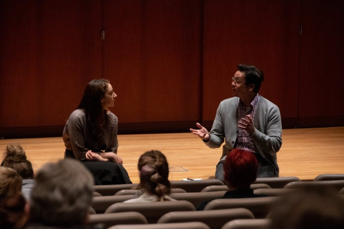"""The film documentary """"True Justice"""" was screened in Konover Auditorium in the Dodd Center this Wednesday, as part of their Human Rights Film Series. Following the film, there was a Q&A with Elyse Frenchman, co-producer of Kunhardt Films.  Photo by Avery Bikerman / The Daily Campus."""