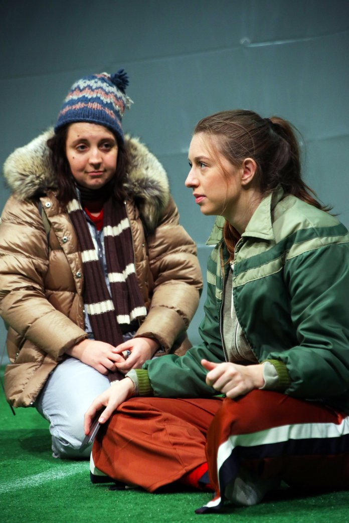 """L to R: Elizabeth Jebran and Eliza Carson in """"The Wolves"""" by Sarah DeLappe onstage through Nov 3 in Connecticut Repertory Theatre's Studio Theatre. Tickets and info at  crt.uconn.edu  or 860-486-2113. Photo by Gerry Goodstein."""