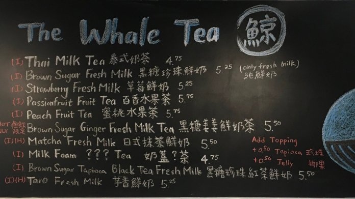 """Storrs Center opens new bubble tea shop, """"The Whale Tea"""". The shop offers ten different flavors of drinks with added toppings.  Photo by Cindy Lam/The Daily Campus"""
