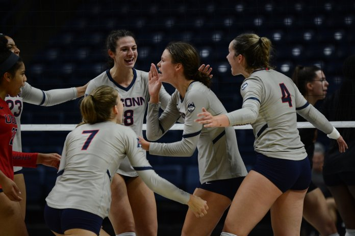 The UConn women's volleyball team takes on Boston College at Gampel Pavilion on September 6, 2019. The match went to 5 sets, with Boston College taking the 3-2 win.  Photo by Judah Shingleton/The Daily Campus