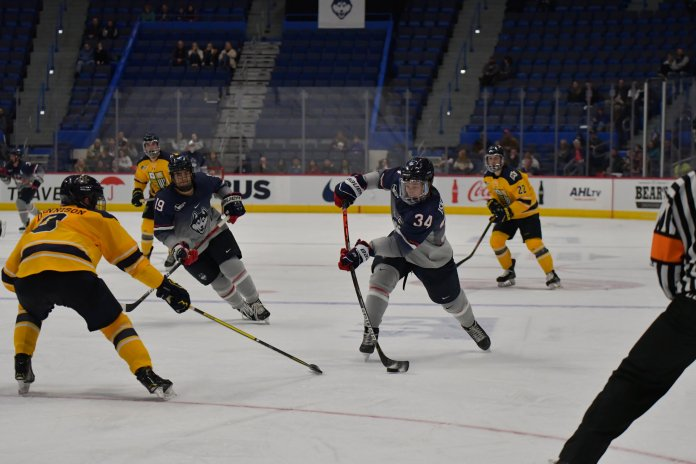 UConn loses to Merrimack College 2-3 in the XL Center Sunday afternoon. UConn was unable to consistently capitalize on penalties. UConn did not take a single shot in three of their six power plays.  Photo by Kevin Lindstrom/The Daily Campus