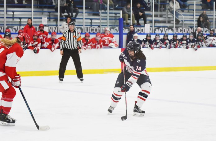 The UConn women's hockey team is hosting Brown University this weekend at home. They are hopeful to get back on track after going winless last weekend.  Photo by Kevin Lindstrom / The Daily Campus.