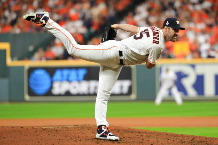 Houston Astros starting pitcher Justin Verlander throws against the Washington Nationals during the first inning of Game 6 of the baseball World Series Tuesday, Oct. 29, 2019, in Houston.  Photo by Mike Ehrmann/AP
