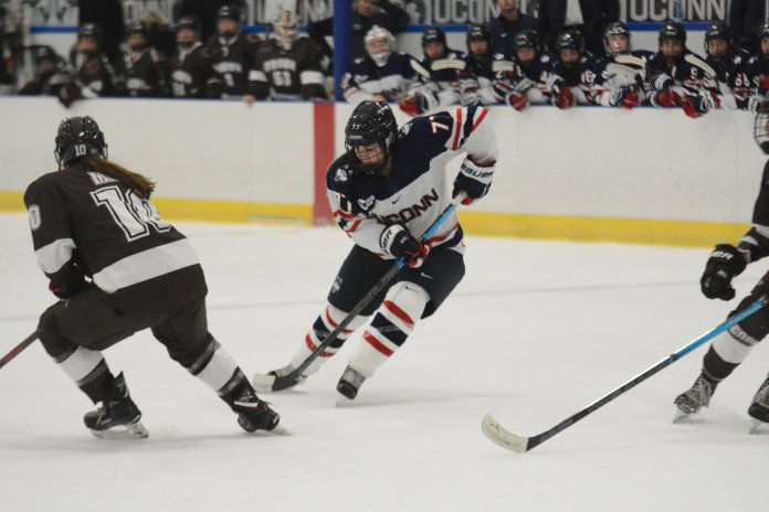The UConn women's hockey team has its toughest competition yet as they are set to face undefeated Boston College.  Photo by Mike Mavredakis / The Daily Campus.