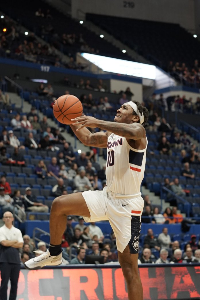 The UConn men's basketball team opens up their last season as a part of the American Athletic Conference against Sacred Heart.  Photo by Eric Wang / The Daily Campus.