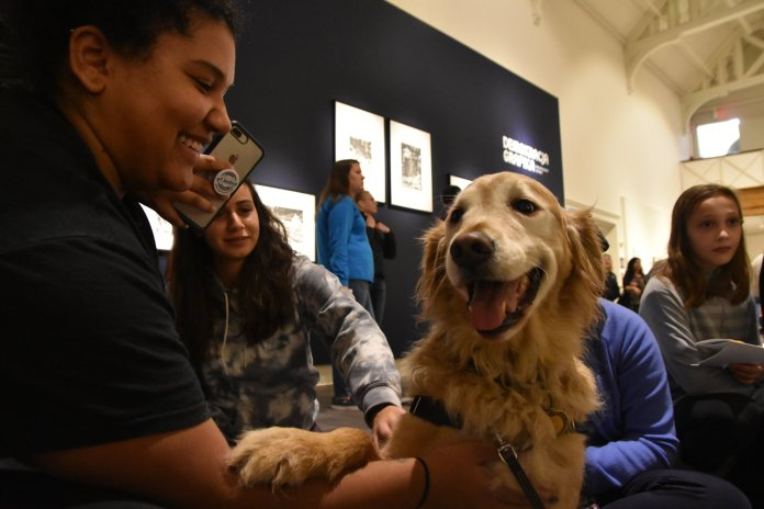 The Benton show cased new art, brought in a therapy dog, and offered free polaroid photos to students.  Photo by by Mike McClellan/The Daily Campus