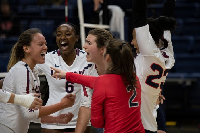 The UConn's women's volleyball team faces the Temple University Owls at Gampel Pavilion on Friday Nov. 8, 2019. The match resulted in a 3-1 win for the Huskies.  Photo by Judah Shingleton/The Daily Campus