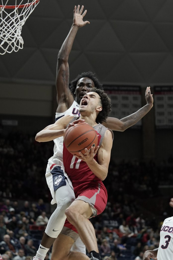 The Huskies won against the Sacred Heart Pioneers with a final score of 89-67 after pulling away in points in the second half. Their next home game is on Wednesday, Nov. 13 against Saint Joseph's University.  Photo by Eric Wang/The Daily Campus