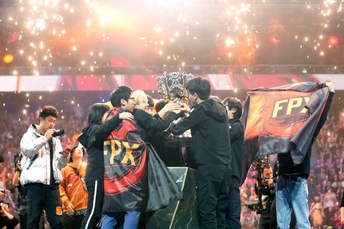FunPlus Phoenix shocked Frances and all those watching as they dominated the Grand Finals against G2 en route to winning the League of Legends World Championships.  Photo from the Associated Press.