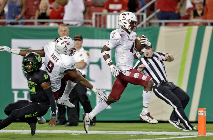 Temple came out on top against USF off a strong performance from their quarterbacks as well as the defense, who sacked USF nine times.  Photo from the Associated Press.