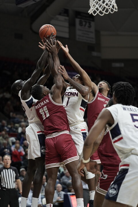 The Huskies lost 87-96 against the Saint Joseph's Hawks. The team opened the game with a score of 0-14, but was able to close the point difference to at most 3 points in the second half. Their next home game is on 11/17 against University of Florida.  Photos by Eric Wang / The Daily Campus