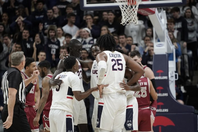 The Huskies lost 87-96 against the Saint Joseph's Hawks. The team opened the game with a score of 0-14, but was able to close the point difference to at most 3 points in the second half. Their next home game is on Sunday, Nov. 17 against University of Florida.  Photos by Eric Wang/The Daily Campus