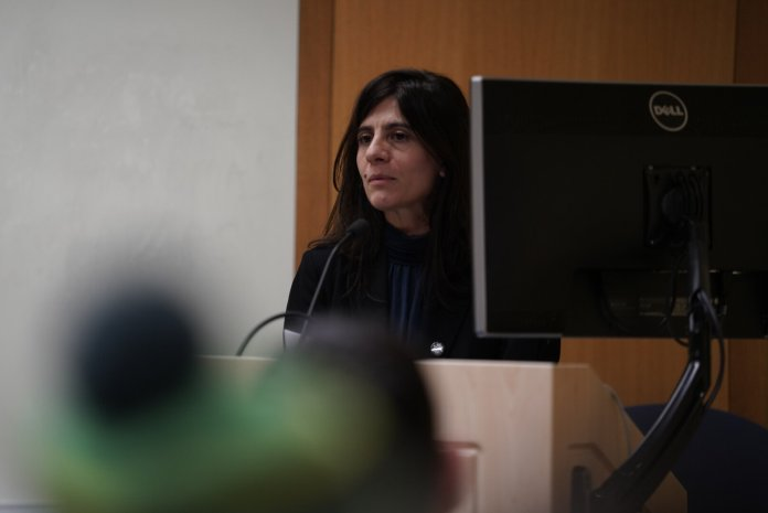 """Dr. Graciela Mochkofsky, director of the Spanish-language Journalism Program, gives the 2019 Robert g. Meade Lecture on """"News Media Portrayls of Latinxs Under Trump: A Call for Greater Visibility"""".  Photo by Maggie Chafouleas/The Daily Campus"""