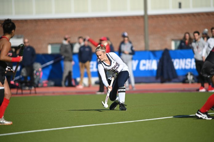 The Huskies defeat Fairfield 2-1 in sudden death overtime Friday afternoon at the Sherman Family Sports Complex. The Huskies came back from a 0-1 deficit with two goals scored by Svea Boker and Sophie Hamilton respectively.  Photo by Kevin Lindstrom/The Daily Campus