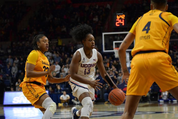 The Huskies beat the California Golden Bears 72-61 in Gampel Pavilion on Sunday, Nov. 17, 2019. The Huskies maintained their composure and cruised to the first win of their regular season.  Photo by Kevin Lindstrom/The Daily Campus