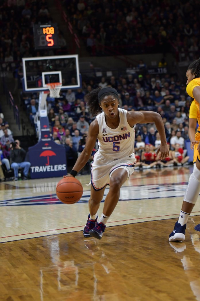 The Huskies beat the California Golden Bears 72-61 in Gampel Pavilion on Sunday, Nov. 17, 2019. UConn maintained the lead for most of the game and never allowed California to be up by more than one point.  Photo by Kevin Lindstrom/The Daily Campus