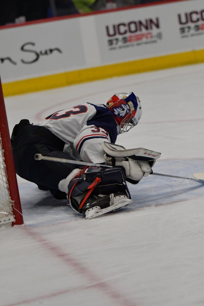 The Huskies, led by goalie Tomas Vomacka, will have a tough task ahead this weekend as they face off against Providence College.  Photo by Kevin Lindstrom / The Daily Campus.
