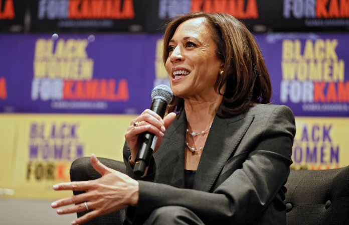 Kamala Harris once again came across as an inconsistent candidate in yet another debate.  Photo from the Associated Press.