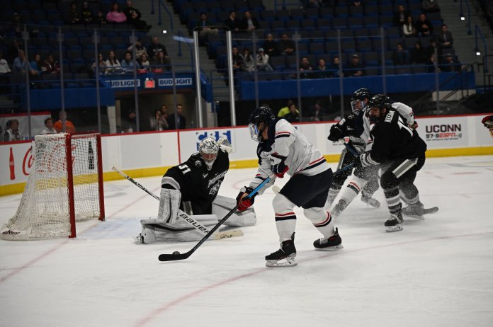 UConn ties Providence College 3-3 in the XL Center on Friday, Nov. 22. Goalkeeper Tomas Vomacka had 36 saves, and Sophomore forward Carter Turnbull scored 2 goals.  Photo by Kevin Lindstrom/The Daily Campus