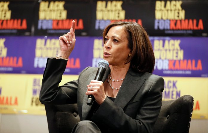 Kamala Harris is the only candidate to dedicate an entire section of their campaign website to mental healthcare, and released an entire eight-page policy plan.  Photo from the Associated Press.