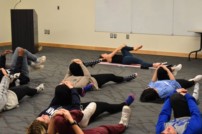 """UConn's Residence Hall Association hosted """"Living Well: A Finals Wellness Event"""" to reduce finals stress.  Photo by Molly Potter/The Daily Campus"""