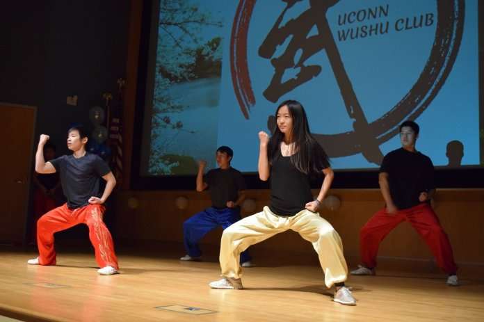 Kevin Yang and other interested students started UConn Wushu in the fall of 2017. The club now has about 10-15 regular members who meet two times a week to practice basic movements, kicks, punches and jumps.  Photo courtesy of    UConn Wushu    Facebook