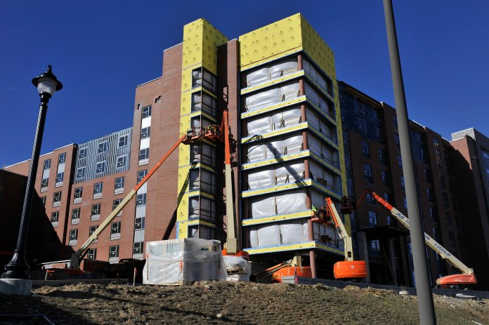 In this 2016 file photo, Next Generation Hall, later renamed Werth Tower, is under construction. This residence hall now houses many of the learning communities on campus.  File Photo/The Daily Campus