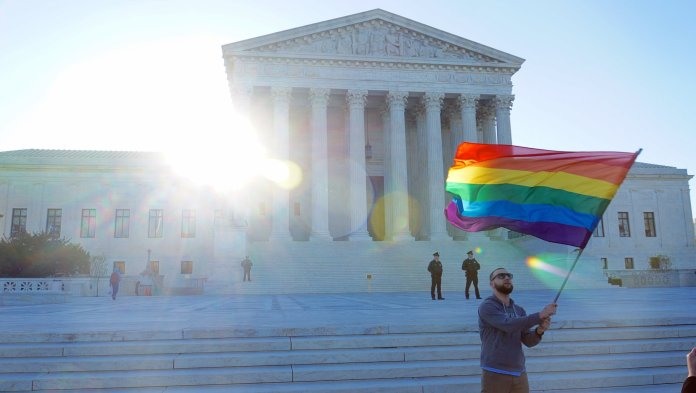 The Supreme Court ruling in the case of Obergefell v. Hodges   declared same-sex marriage legal in all 50 states on June 26, 2015.  Photo in the    public domain