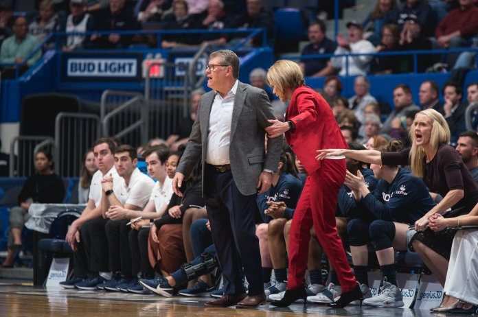 """""""I wish I could say 'I coach really well after losses,' that's not the case,"""" Head coach Geno Auriemma said. """"I don't know, I wish I had the answer. It's pretty remarkable.""""  Photo by Charlotte Lao / The Daily Campus"""