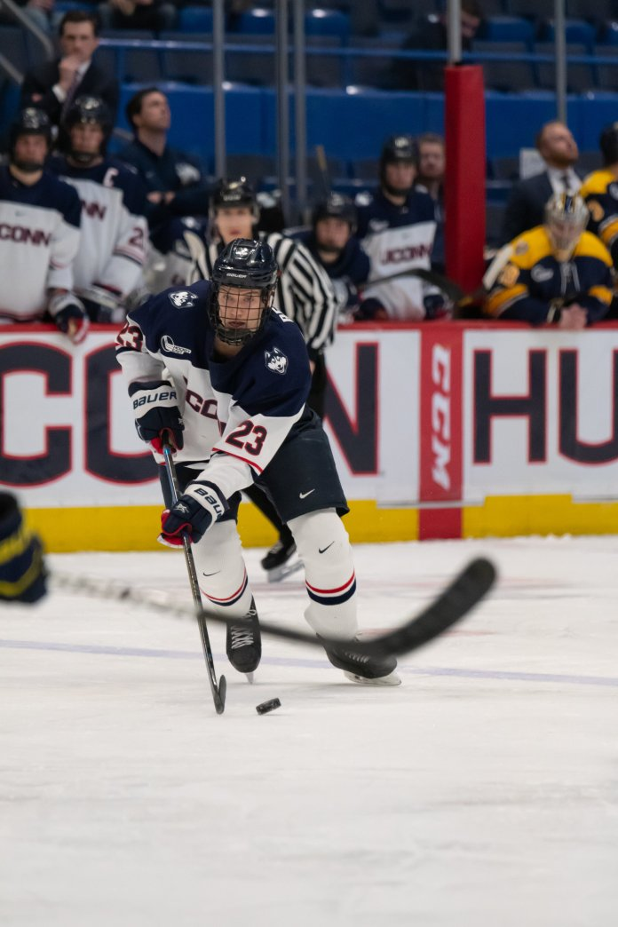 UConn loses to the Merrimack Warriors 2-6 on January 7th in the XL Center. The Warriors maintained the lead from the second they scored in the first period, and UConn scored two goals during the second period.   Photo by Kevin Lindstrom/The Daily Campus