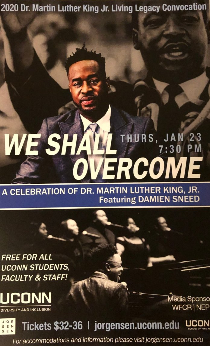 """""""We Shall Overcome"""" was held at the Jorgensen Center of the Performing Arts to celebrate the life of Dr. Martin Luther King, Jr.  Photo courtesy of the author"""