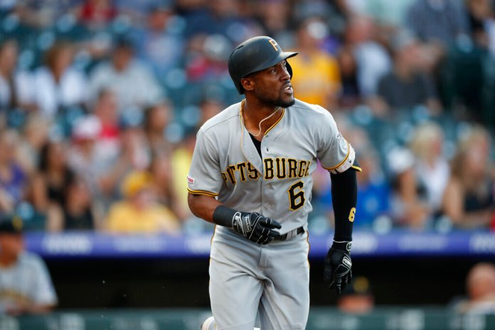 Former Pittsburgh Pirates center fielder Starling Marte in the first inning of a baseball game in Denver. Marte is heading to the Arizona Diamondbacks. The Pirates sent the two-time Gold Glove outfielder and 2016 All-Star to the Diamondbacks for prospects Liover Peguero and Brennan Malone.  Photo courtesy of David Zalubowski/AP Photo