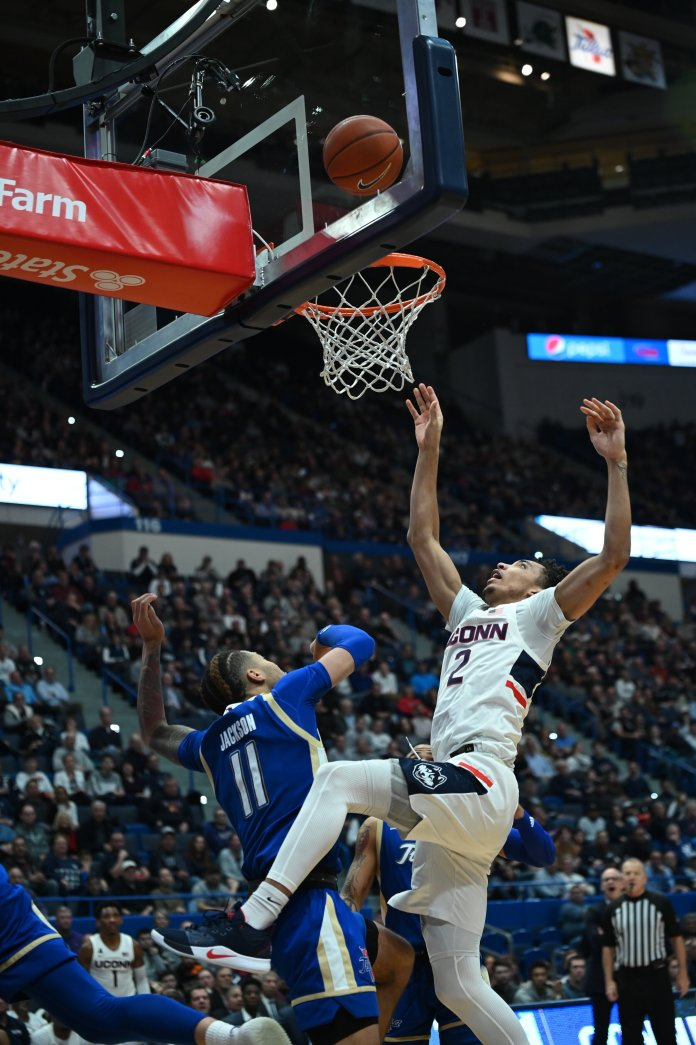 The Huskies suffer a 79-75 overtime defeat at the hands of the Tulsa Golden Hurricane Sunday afternoon in the XL Center. Freshman James Bouknight led the team in scoring with 16 points.  Photo by Kevin Lindstrom, Staff Photographer/The Daily Campus