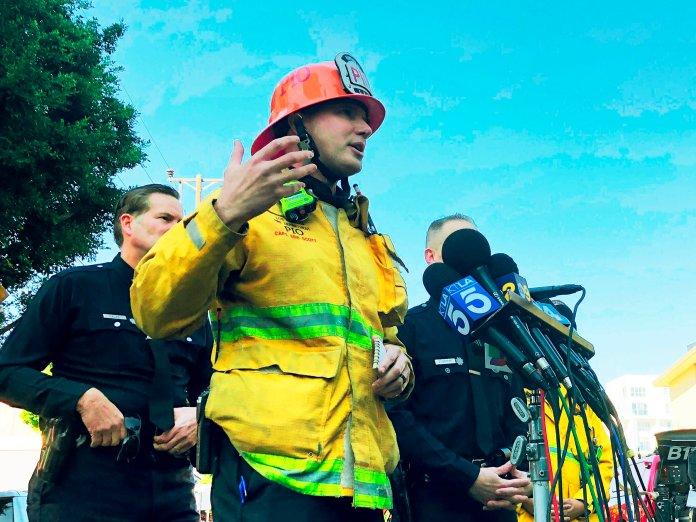 Los Angeles Fire Department Capt. Erik Scott talks about a fire. (AP Photo/Stafanie Dazio)