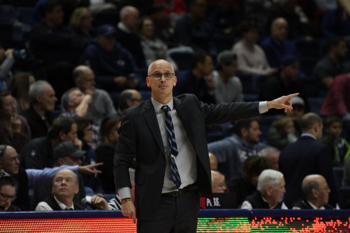UConn men's basketball coach Dan Hurley points during the team's win over Temple. The team fielded just seven players with a scholarship in the win.  Photo by Brandon Barzola, Grabs Photographer/The Daily Campus