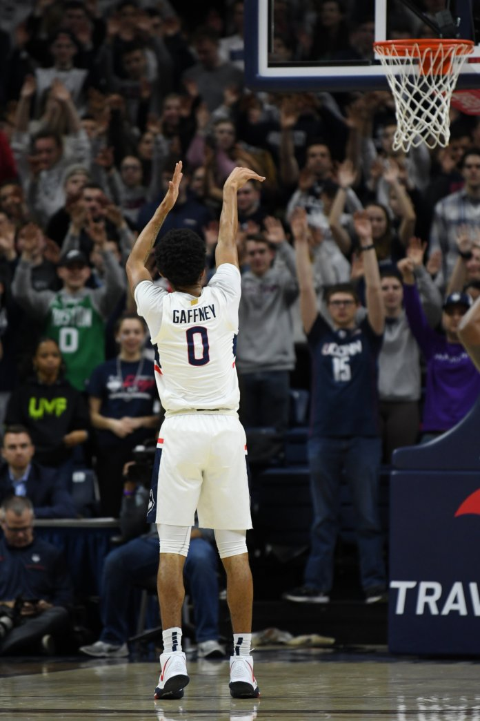 The UConn men's basketball team took home a win against Temple. Gaffney played 36 minutes in his first career start for the Huskies.  Photo by Brandon Barzola, Grabs Photographer/The Daily Campus