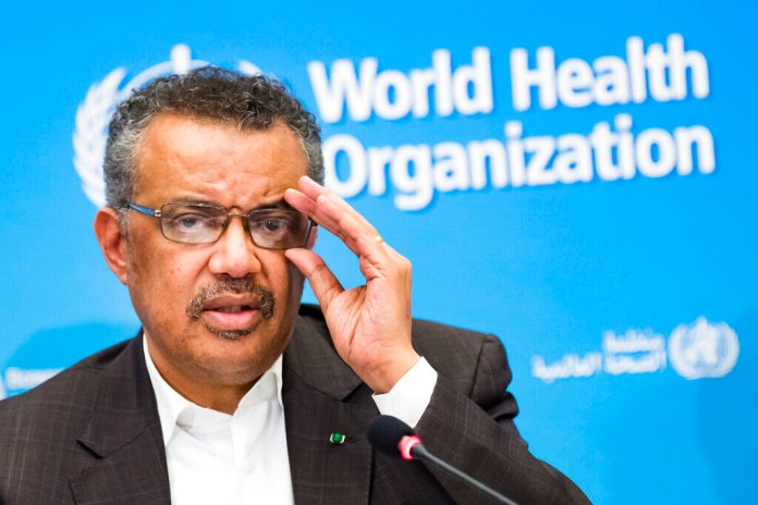"""Tedros Adhanom Ghebreyesus, Director General of the World Health Organization (WHO), talks to the media at the World Health Organization headquarters in Geneva, Switzerland, Thursday, Jan. 30, 2020. The World Health Organization declared the outbreak of a new deadly virus which originated from China a """"global health emergency.""""   Photo by Jean-Christophe Bott/Keystone via AP"""