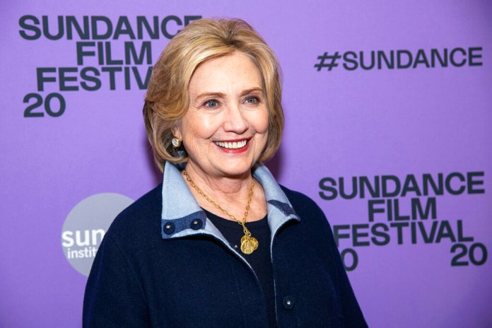 """Hillary Clinton attends the premiere of """"Hillary"""" at The Ray Theatre during the 2020 Sundance Film Festival on Saturday, Jan. 25, 2020, in Park City, Utah.   Photo by Charles Sykes/AP"""