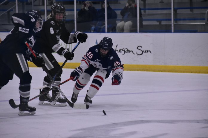 The UConn Women's Hockey team was able to hold off the Providence Friars to a tie of 2-2 this past Saturday afternoon at the Mark Edward Freitas Ice Forum in Storrs. Both teams came away with a Hockey East point, and the Huskies will be back in action this coming Friday skating against the Vermont Catamounts in Burlington, VT.   Photo by Sofia Sawchuk/The Daily Campus