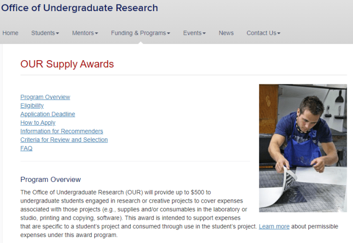 This is a screenshot of the Office of Undergraduate Research Award page. This is the specific award that Eric Mohan won.