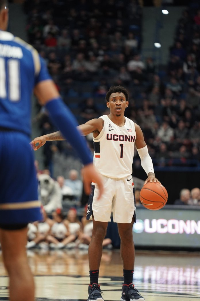 The UConn men's basketball team lost against Tulsa on Sunday after forcing an overtime but losing by 4 point difference with a final score of 75-79. UConn will face off against Tulsa Thursday.  Photo by Eric Wang/The Daily Campus