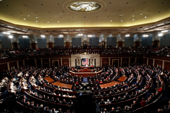 President Donald Trump delivers his State of the Union address to a joint session of Congress on Capitol Hill in Washington, Tuesday, Feb. 4, 2020. (AP Photo/Alex Brandon)