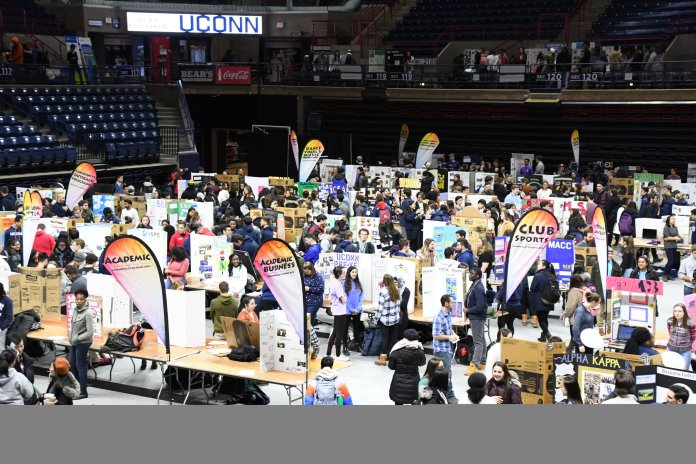 A photo of booths at the involvement fair held February 5th in Gampel Pavilion.  Photo by Julie Spillane/The Daily Campus