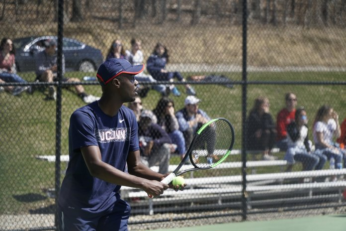 The men's tennis team lost to Marist on Saturday 2-5. The Huskies will be playing in the American Athletic Conference Championship starting on 4/18.   Photo by Eric Wang/The Daily Campus