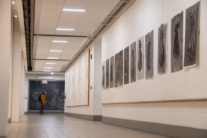 """""""I don't choose to draw, it's not a conscious thing,"""" Crumb said.   Photo by Avery Bikerman/The Daily Campus"""