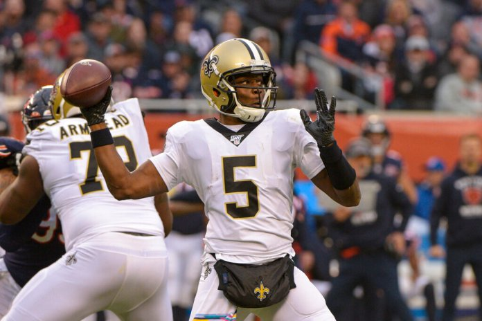 New Orleans Saints quarterback Teddy Bridgewater throws against the Chicago Bears during the first half of an NFL football game in Chicago. Assuming Drew Brees re-signs with New Orleans he's pretty much said he will and Teddy Bridgewater hits the open market, the only unknown in this sector is in Carolina.  Photo courtesy of Mark Black/AP