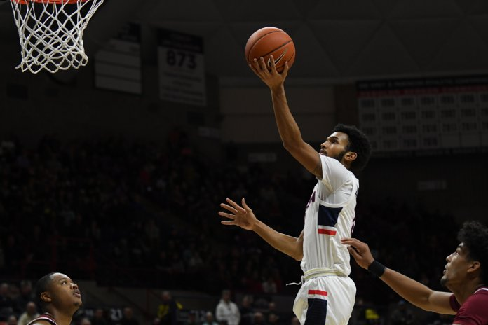 UConn freshman Jalen Gaffney scores a layup in a win over Temple earlier in the season. Gaffney scored 13 points on 5-for-8 shooting in the loss Wednesday.  Photo by Brandon Barzola/The Daily Campus