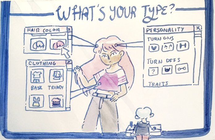 We ask four students what their ideal types are, everything from how many relationships they've been in to preference in body type.  Illustration by Kaitlyn Tran.